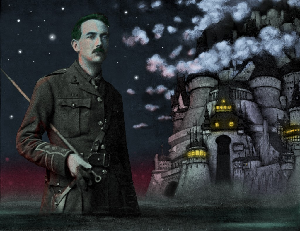 Lord Dunsany in Service Uniform before the Fortress Unvanquishable, Save for Sacnoth (as illustrated by Sidney Sime)