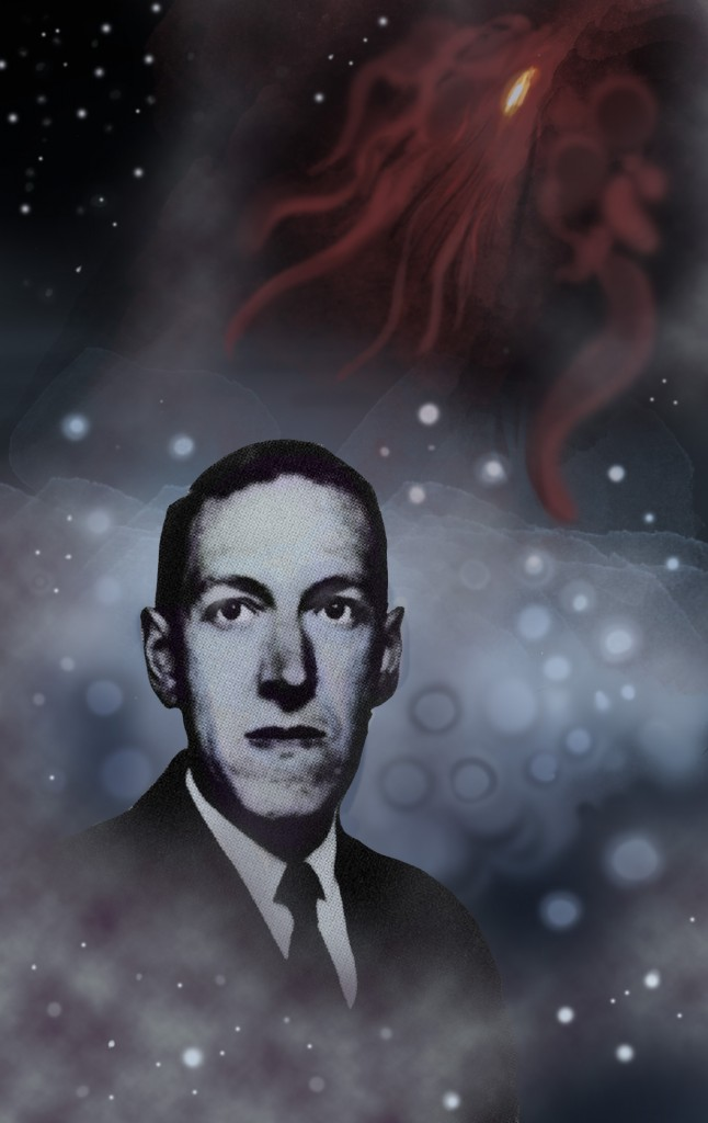 HP Lovecraft, with his creations Yog Sothoth (bluish maleficent orbs) and Azathoth (reddish crawling chaos). Collage by Aladdin Collar.