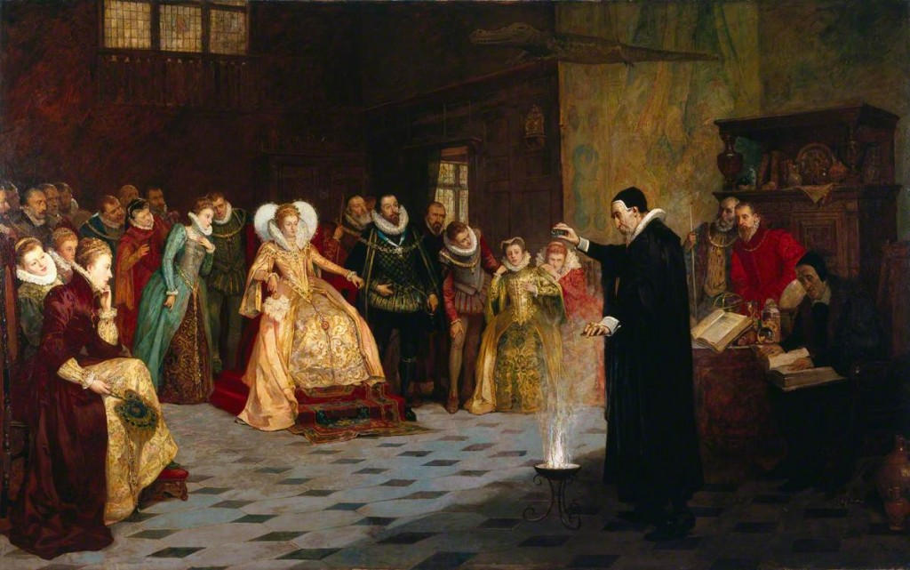 Glindoni, Henry Gillard, 1852-1913; John Dee Performing an Experiment before Elizabeth I. This painting was recently forensically examined, and it was determined that the artist originally included a ring of skulls around John Dee.